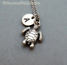 Sea Turtle Necklace personalized sea turtle by ShortandBaldJewelry, $19.75