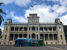 Hawaiian Electric at Hawaii Dept. of Transportation Electric Bus Demo – April Zero-emission electric battery bus from Proterra Inc. in front of Iolani Palace. Hawaiian Electric, Electric Transportation, April 11, San Francisco Ferry, Palace, Zero, Explore, Travel, Viajes