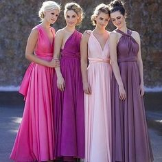 Gorgeous colors and fabulous necklines. @whiterunway' s Goddess by Nature Multiway Dress can be  styled in over 30 different ways! #whiterunway #multiway #bridesmaids #eveningwear #wedding #weddingfashion #bridesmaids #maids #choices #ootd #dressoftheday