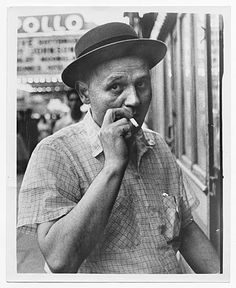 Citation: Romare Bearden in Harlem, ca. 1950 / unidentified photographer. Romare Bearden papers, Archives of American Art, Smithsonian Institution.