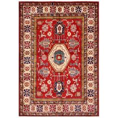 Shop for Herat Oriental Afghan Hand-knotted Kazak Red/ Beige Wool Rug (5'10 x…