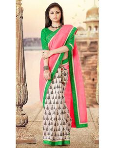 Pink Off White Beautiful Drashti Dhami Bhagalpuri Silk Saree  Rs.1,945 33% OFF