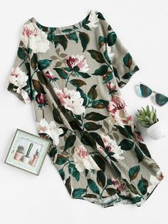Robe imprimée fleuri avec des poches -French SheIn(Sheinside)