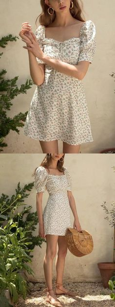 f8606d58a56 White Chiffon Square Neck Floral Print Puff Sleeve Mini Dress - Choies.com