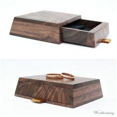 Wedding ring box - wooden ring bearer box - personalized wedding box - Make-Up Wooden Ring Box, Wooden Rings, Ring Holder Wedding, Wedding Rings, Personalised Box, Personalized Wedding, Ring Bearer Box, Wedding Boxes, Wood Patterns