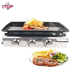 Us 17341 42 Off Itop 3 Burners Lpg Griddles Gas Bbq Grills Heavy Duty Grills Machine Outdoor Kitchen Barbecue Tools Iron Cooking Plate In Electric Barbecue Grill, Gas Bbq, Grilling, Best Portable Grill, Grill Machine, Cooking Appliances, Kitchen Appliances, Flat Pan, Pretend Play Kitchen