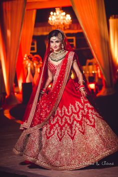 Bridal Lehenga - Gold and Red Wedding Lehenga With Golden embroidery | Akshay & Arshiya wedding story | WedMeGood #wedmegood #indianbride #indianwedding #bridallehnga #weddinglehenga #bridalredcolor #redlehenga