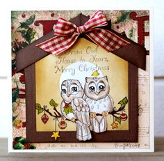 Sample card: Card 4531 Owl. Made By Birgit Edblom  From Alota Rubber Stamps!