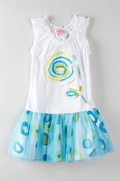 Beetlejuice London  Aqua Marina Embroidered Swirl Dress