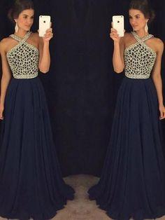 Halter Chiffon Beading Navy Prom Dress