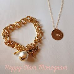 Happy Bracelet & The Hand Stamped Name necklace from Happy Clam Monogram