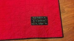 A quilt label for my granddaughter's flower quilt.  Sharyn