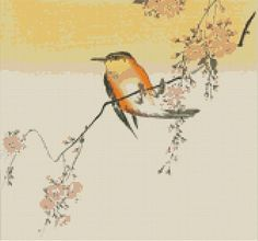 Songbird and Cherry Blossom Cross Stitch Pattern, Ohara Shoson, Counted Cross Stitch Chart, Instant Digital Download, Embroidery Pattern