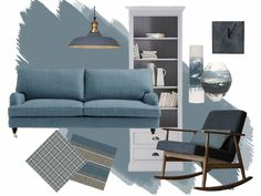 Dulux 'Denim Drift' is the colour of the year for 2017 Check-out our Moody-Blues Moodboard and see how we have styled the Trend at StyleCo Mood Board Interior, Interior Design Boards, Denim Drift Dulux Paint, Dulux Denim Drift Bedroom, Style At Home, Denim Drift Living Room, Paint Colors For Living Room, Living Room Decor, Contemporary Style Homes
