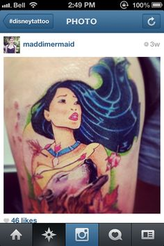 Pocahontas disney tattoo princess colour color