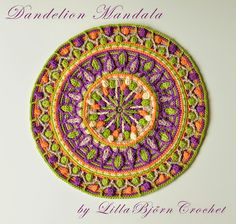 My Dandelion mandala made in overlay crochet. Click here to see the pattern page http://www.ravelry.com/patterns/library/dandelion-mandala-overlay-crochet