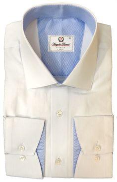 Белая рубашка в голубую полоску