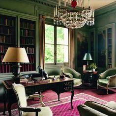 thefullbookworm:  thefoodogatemyhomework: Green library at the Chateau de Groussay.