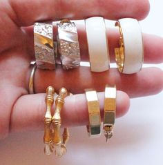Lot of 4 Pairs of Monet Signed Hoop Earrings by paststore on Etsy