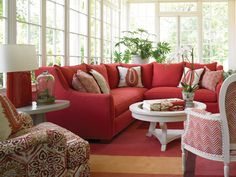 Red Sectional Sofa - Toms-Price Home Furnishings Wesley Hall Furniture, Furniture, Red Couch Decor, Home Furnishings, Red Couch Living Room, Couches Living Room, Eclectic Sectional Sofas, Hall And Living Room, Stickley Furniture