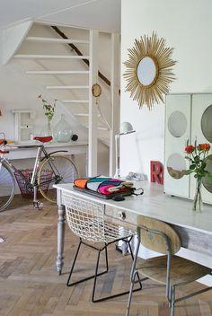 by wood & wool stool | floor | mirror | chairs | details