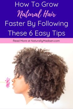 How to Grow Natural Hair Faster by Following 6 Easy Tips | How to grow natural hair, Grow natural hair faster, Tips on how to grow natural hair, Healthy natural hair growth, How to grow healthy natural hair, How to get healthy natural hair | #healthynaturalhair #naturalhaircare #naturalhairtips #naturalhairgrowth Grow Natural Hair Faster, Natural Hair Growth Tips, How To Grow Your Hair Faster, Natural Hair Styles, Healthy Scalp, Healthy Hair Growth, Natural Hair Moisturizer, Natural Haircare, Hair Images