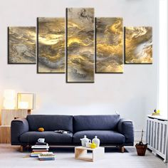 5 pc Set grey and yellow abstract cloud NO FRAME Oil Painting Canvas Prints Wall Art Pictures For Living Room Decorations ** You can get additional details at the image link. #HomeDecor