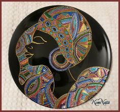 Тарелка Африка Точечная роспись