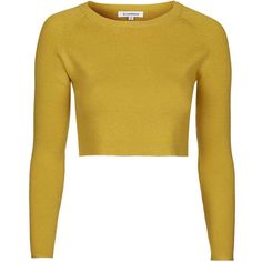 Cropped Knitted Top by Glamorous ($17) ❤ liked on Polyvore featuring tops, crop tops, mustard, mustard crop top, topshop, topshop tops, mustard yellow top and mustard top