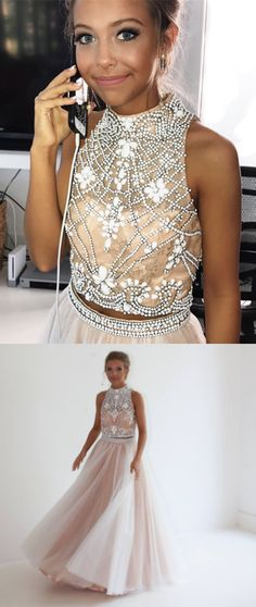 2018 two piece prom dress, long prom dress, high neck beads prom dress, white long prom dress with open back
