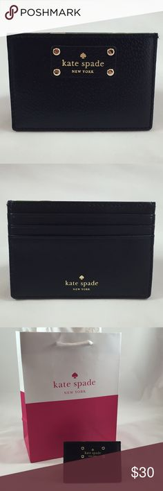 BRAND NEW Black Kate Spade Card Holder BRAND NEW Black Kate Spade Card Holder.  Black leather with gold lettering.  Perfect for holder all your essentials - easy to throw in any bag and go! kate spade Bags Wallets