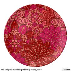 Red and pink mandala pattern plate  #Home #decor #Room #Interior #decorating #Idea #Styles #Traditional #Boho #Indian #Vintage #floral #motif