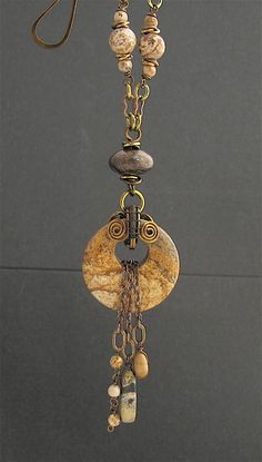Brown Stone Wire Wrapped Pendant Necklace. by LoneRockJewelry, $49.00