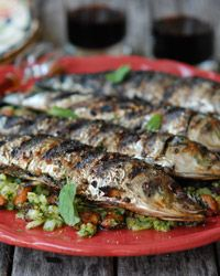 Grilled Sardines with Mint and Almonds Recipe
