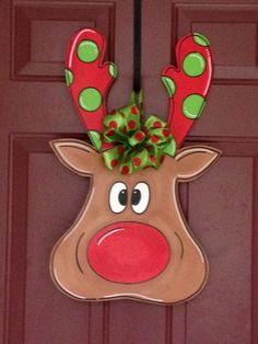 Reindeer door hanger $50 ABC - Art By Camille on FB