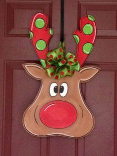 Reindeer door hanger $50 ABC - Art By Camille on FB