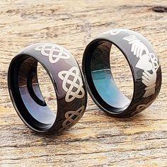 Helios black Irish wedding bands for men. Black polished finish on a dome shape ring. Irish Knot, Black Tungsten Rings, Claddagh Rings, Black Polish, Irish Wedding, Black Rings, Laser Engraving, Metals, Jewerly