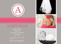 Classic Monogram Birth/Baby Announcement by SweetBeeDesignShoppe