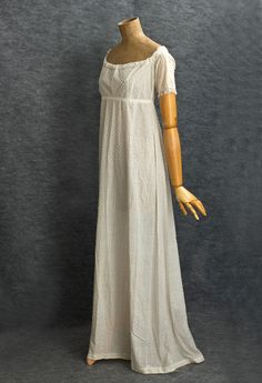 French beaded cotton evening dress- c.1805 Made from white cotton ...