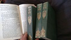 """wencheswithcannons:  """" Hit up a library book sale. These are The complete works of Shakespeare from a collection of classical literature printed in the late 1800's (there is no date of printing I'm going off similar ones I found online). The fabric covers are embossed and the pages onion skin thin but a joy to hold as the ink is ever so slightly raised. Somewhere my father is crying because I have these."""""""