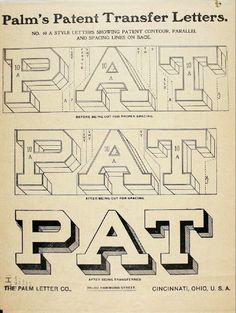 A 1901 catalog promoting transfer lettering and ornaments for wood, metal paint and glass surfaces from The Palm Letter Co. Chalk Lettering, Types Of Lettering, Graffiti Lettering, Typography Letters, Lettering Design, Graphic Design Typography, Painted Letters, Hand Painted Signs, Monogram Letters