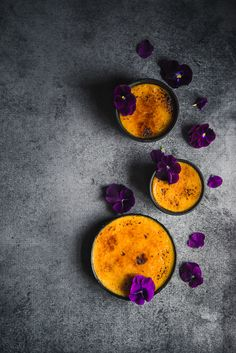 A step beyond the traditional crème brûlée with sweet potatoes and violet liquor for an easy and truly spectacular dessert.