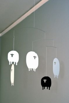 Sheep mobile in black, white and silver!