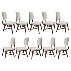 70's Set of Ten Brazilian Dining Chairs | From a unique collection of antique and modern dining room chairs at https://www.1stdibs.com/furniture/seating/dining-room-chairs/