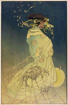 hanga gallery . . . torii gallery: Spider Woman by Bertha Lum