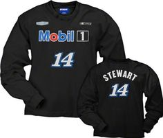 Tony Stewart Mobil 1 Long Sleeve T-Shirt: Tony Stewart #14 Name and Number Long Sleeve T-Shirt by Checkered Flag. $25.99. Be ready to play while you show off your Tony Stewart team spirit in this sporty Tony Stewart Mobil 1 Long Sleeve T-Shirt: Tony Stewart #14 Name and Number Long Sleeve T-Shirt. Featuring screen print graphics, this piece of team apparel is perfect for cheering from the stands or watching the game at home.