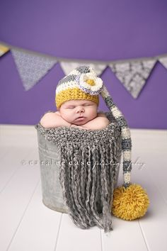 Baby Girl Elf Hat in Yellow Cream and Grey by craftnikki on Etsy, $32.00 in my prop stash