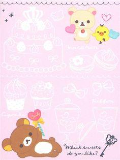 San-X Rilakkuma white bear mini Memo Pad with sweets - Memo Pads - Stationery - kawaii shop modeS4u