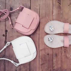 Pedro Garcia Mini saddle bag in white and rosé and Idana style, crystal 'paddock' sandal in rosé