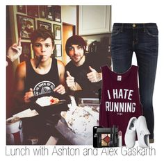 """Lunch with Ashton and Alex Gaskarth (read description)"" by zalix ❤ liked on Polyvore featuring Current/Elliott, Victoria's Secret PINK, Vans, Givenchy, Christian Dior, Maybelline, ashtonirwin and alexgaskarth"